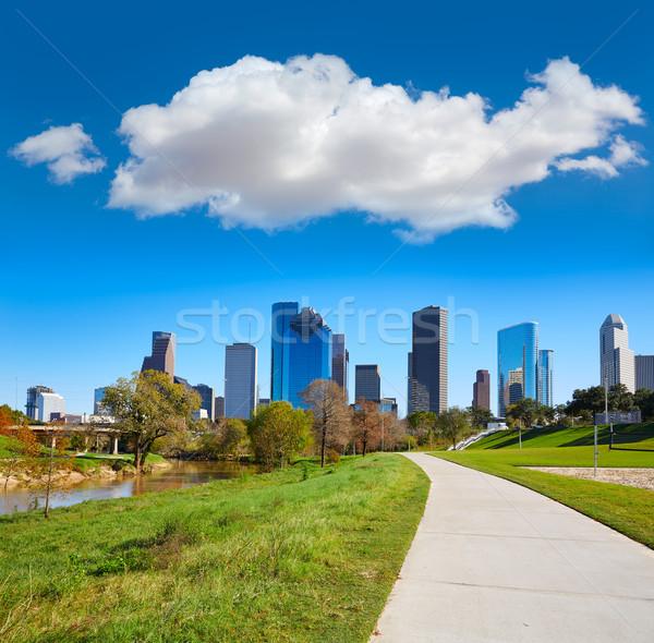 Houston sziluett napos idő park fű Texas Stock fotó © lunamarina
