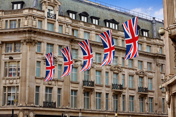 Londra bayraklar oxford sokak westminster İngiltere Stok fotoğraf © lunamarina