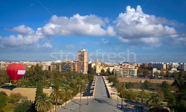 Valencia sziluett légifelvétel híd Spanyolország tájkép Stock fotó © lunamarina