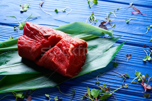 Foto stock: Carne · de · vacuno · carne · pan · ternera · lomo · azul