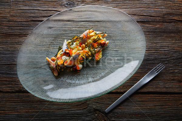 Salata kremsi peynir mısır füme arka plan Stok fotoğraf © lunamarina