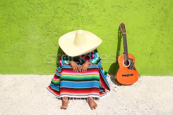 昼寝 怠惰な 典型的な メキシコ料理 ソンブレロ 男 ストックフォト © lunamarina
