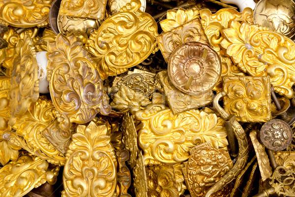 embossed brass golden metal decorative pieces Stock photo © lunamarina