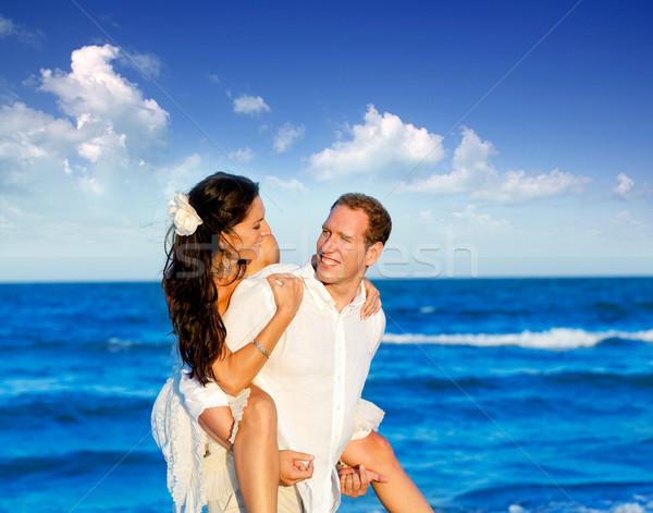 Plaży wakacje miesiąc miodowy podróży morze Śródziemne niebo Zdjęcia stock © lunamarina