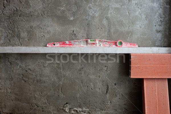 Zdjęcia stock: Bańka · duch · poziom · narzędzie · czerwony · cementu