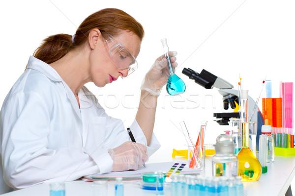 Stok fotoğraf: Kimyasal · laboratuvar · bilim · adamı · kadın · cam