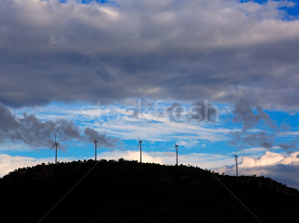 Sunset mountain with electric windmills Stock photo © lunamarina