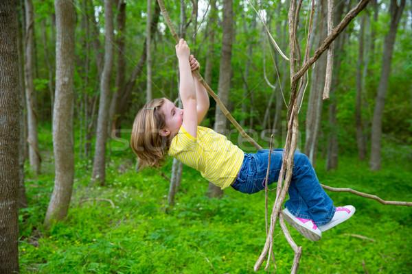 Photo stock: Filles · jouer · suspendu · jungle · parc · enfants