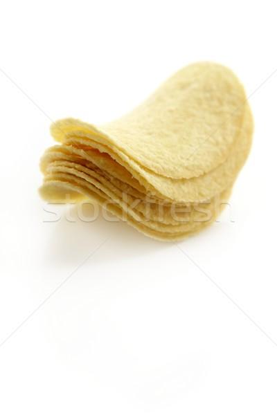 Krumpli sózott sültkrumpli szeletek fehér egészség Stock fotó © lunamarina