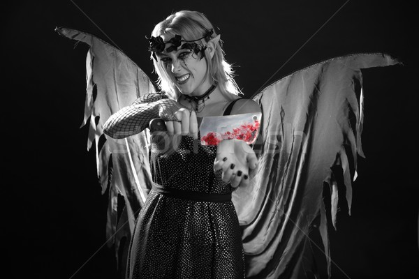 Nő ruha halloween véres kés boszorkány Stock fotó © lunamarina