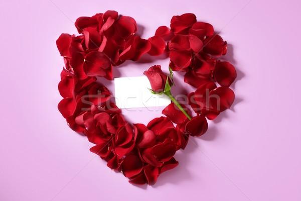 Rood rose bloemblaadjes hartvorm exemplaar ruimte nota liefde Stockfoto © lunamarina