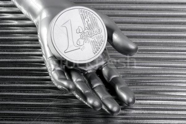 ユーロ 銀 コイン 未来的な メタリック 手 ストックフォト © lunamarina