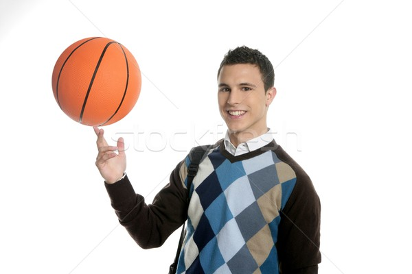 Happy young boy student with basketball ball Stock photo © lunamarina