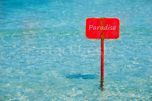 turquoise tropical sea with red sign saying Paradise Stock photo © lunamarina