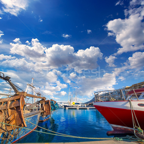 Denia Alicante port with blue summer sky in Spain Stock photo © lunamarina