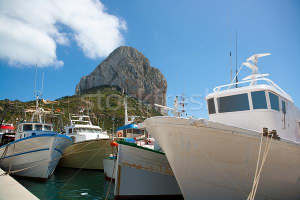 Calpe Alicante fisherboats with Penon de Ifach Stock photo © lunamarina