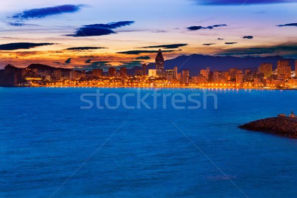 Stock fotó: Naplemente · tengerpart · Spanyolország · égbolt · város · nap
