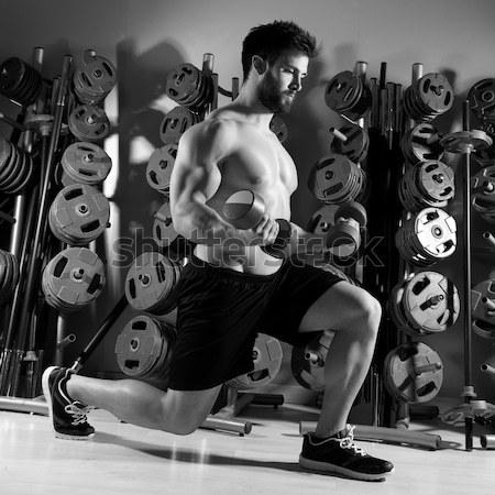 штанга женщину тренировки фитнес тяжелая атлетика спортзал Сток-фото © lunamarina