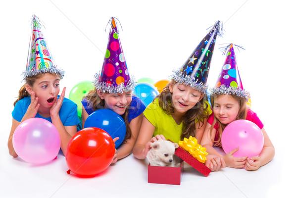 Stockfoto: Gelukkig · kid · meisjes · puppy · hond · geschenk