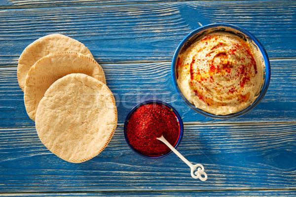 Zdjęcia stock: Pita · chleba · czerwony · pieprz · proszek · niebieski