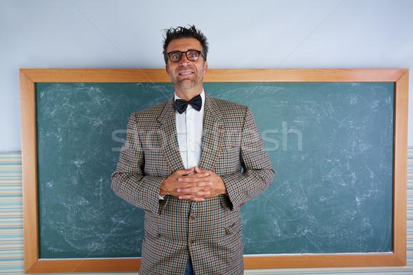 Nerd dom leraar vintage retro pak Stockfoto © lunamarina