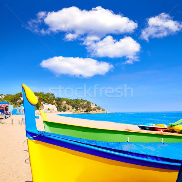 Lloret de Mar Sa Caleta beach in costa Brava of Catalonia  Stock photo © lunamarina