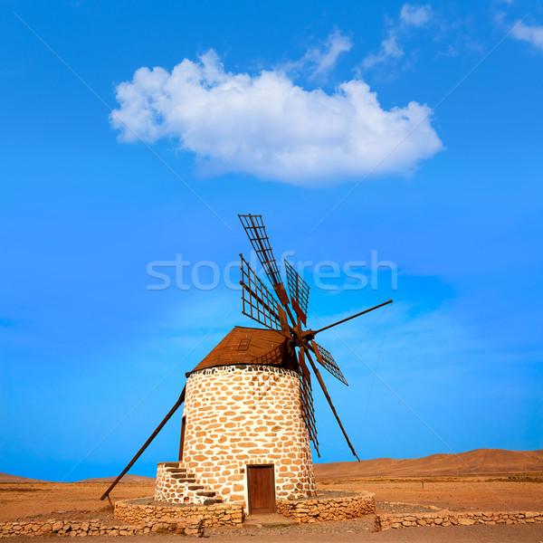 Tefia windmill Fuerteventura at Canary Islands Stock photo © lunamarina