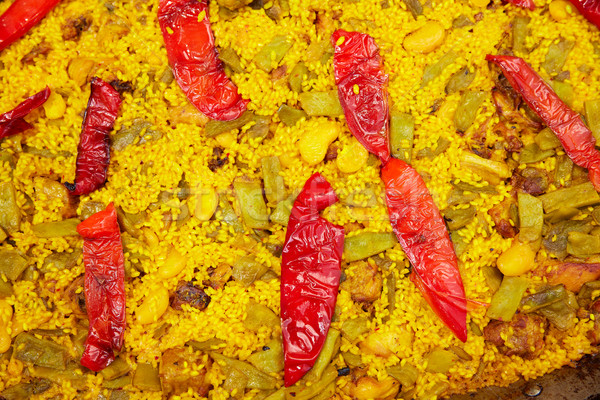 Paella closeup texture in Alicante Spain Stock photo © lunamarina