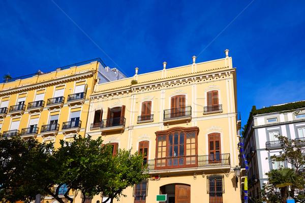 Valencia LA tér épületek Spanyolország utca Stock fotó © lunamarina