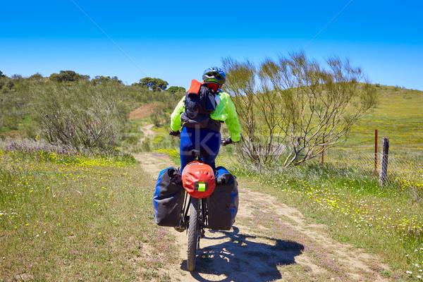 Biker at Via de la Plata way Extremadura Spain Stock photo © lunamarina