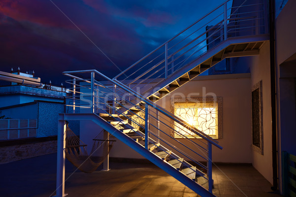 Huis venster licht gloed donder storm Stockfoto © lunamarina