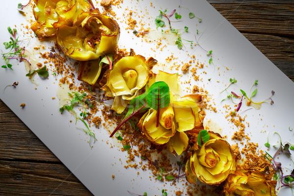 Stok fotoğraf: Güller · bal · arka · plan · restoran · akşam · yemeği · şef