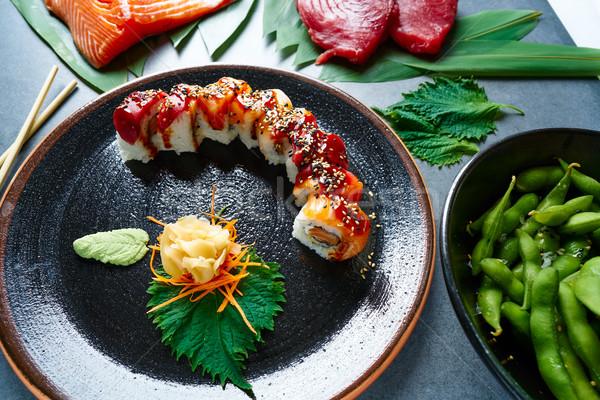 Rice Maki Sushi with salmon and tuna Stock photo © lunamarina