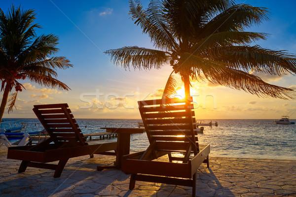 Napfelkelte tengerpart pálmafák víz fény háttér Stock fotó © lunamarina