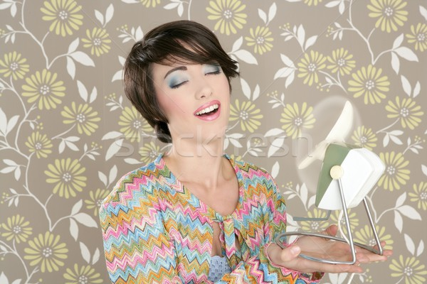 Retro air fan 60s vintage woman portraitl wallpaper Stock photo © lunamarina