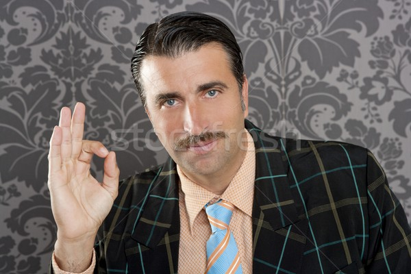 Stock photo: nerd retro man businessman ok positive hand gesture
