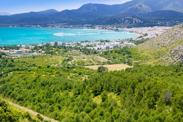 Pollensa Port view of the valley from high mountains Stock photo © lunamarina
