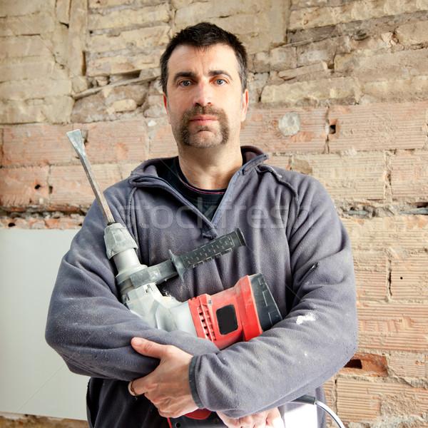 Demolizione martello uomo muratore manuale lavoratore Foto d'archivio © lunamarina