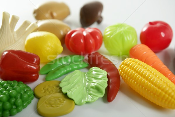 Plastic game, fake varied vegetables and fruits Stock photo © lunamarina
