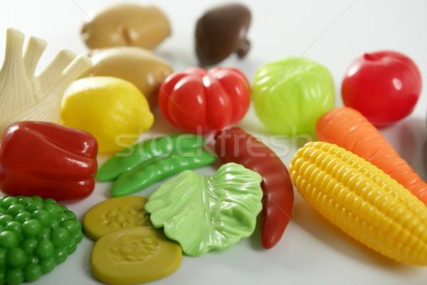 Műanyag játék hamisítvány zöldségek gyümölcsök gyerekek Stock fotó © lunamarina