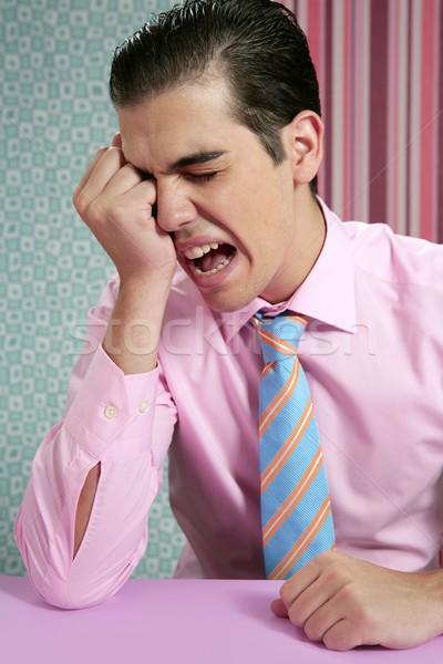 Zdjęcia stock: Biznesmen · zmartwiony · głowy · smutne · ręce