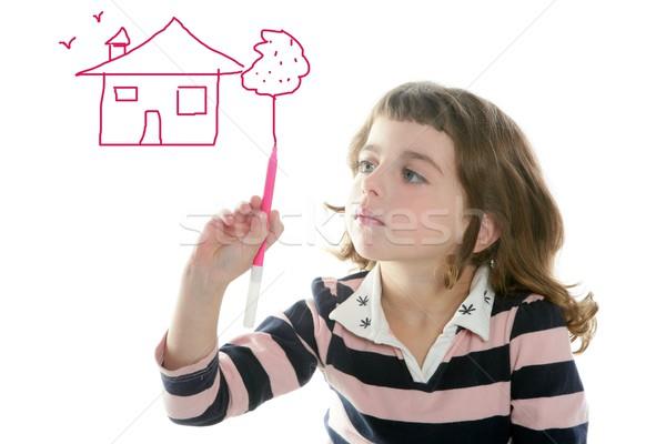 little girl drawing real state house Stock photo © lunamarina