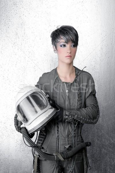 моде серебро женщину космический корабль астронавт шлема Сток-фото © lunamarina