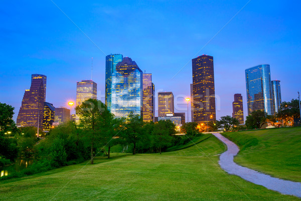 Houston Texas moderno linha do horizonte pôr do sol crepúsculo Foto stock © lunamarina