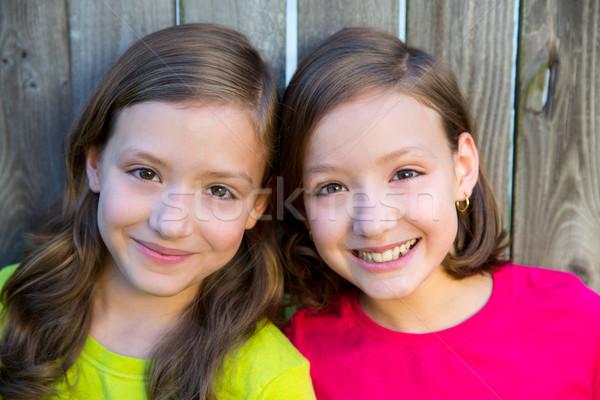 Happy twin sisters smiling on wood backyard fence Stock photo © lunamarina