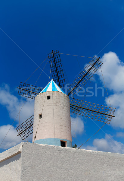 Menorca Sant Lluis San Luis Moli de Dalt windmill in Balearic Stock photo © lunamarina