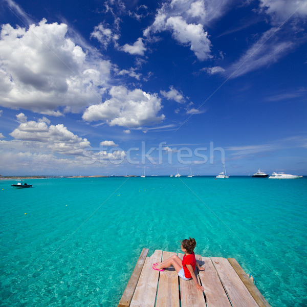 Kid girl looking at tropical Mediterranean sea from wood pier Stock photo © lunamarina