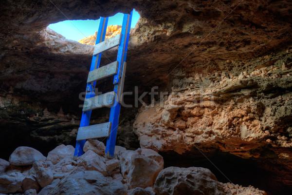 Cave hole entrance with ladder in Barbaria Cape Stock photo © lunamarina