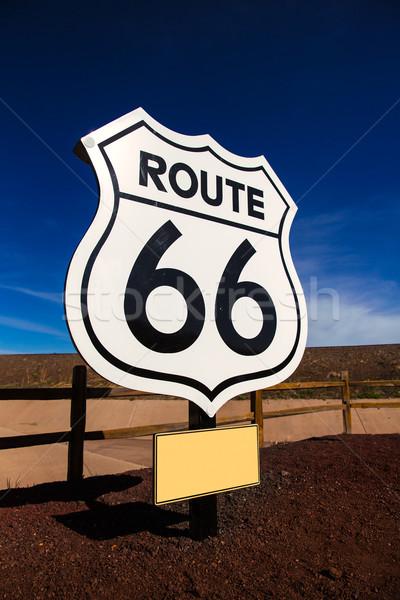 Stockfoto: Route · 66 · verkeersbord · Arizona · USA · blauwe · hemel · hemel