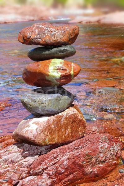 Kamienie czerwony wapień rzeki wody Zdjęcia stock © lunamarina